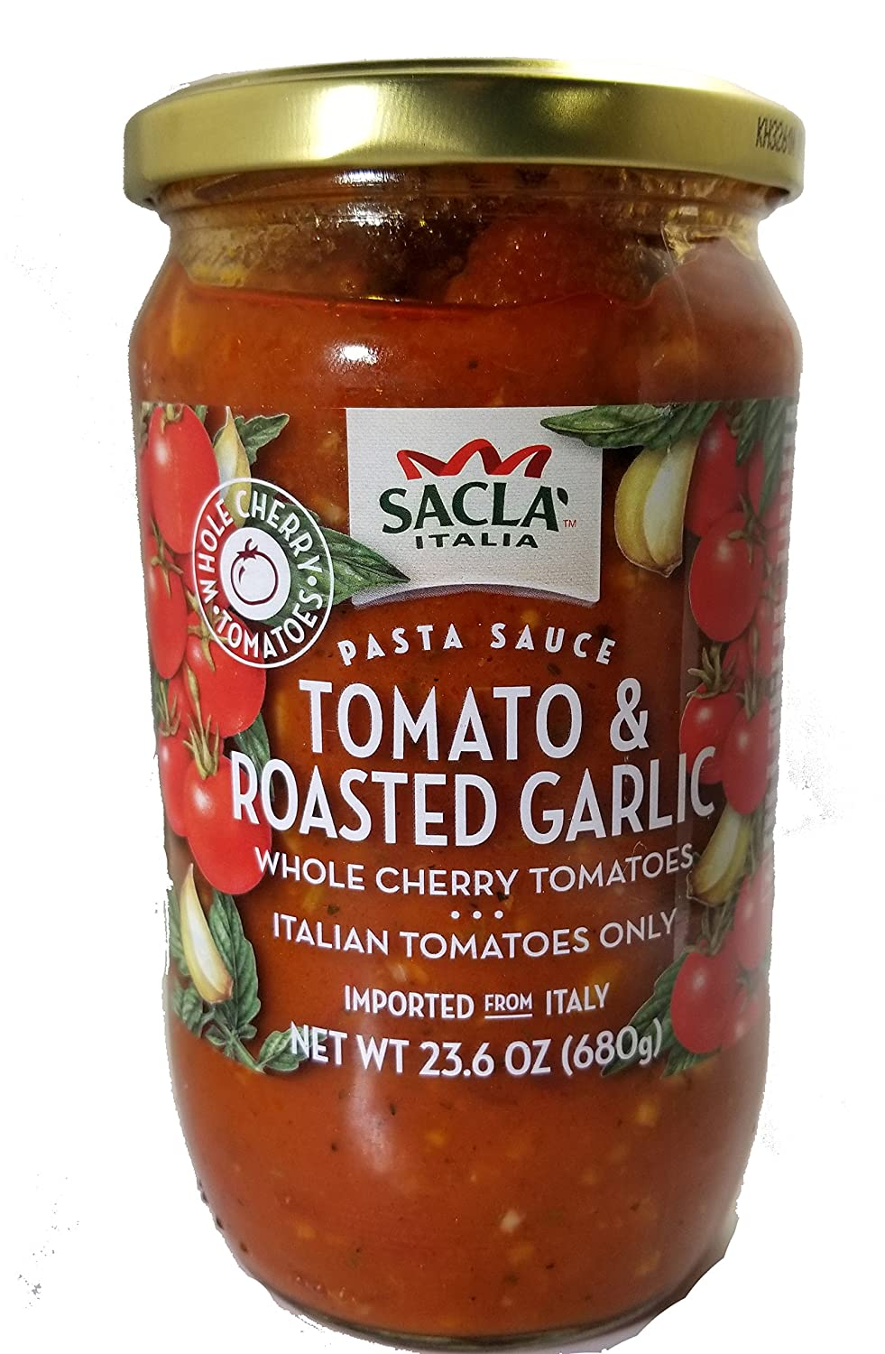 All Natural Whole Cherry Tomato and Roasted Garlic Pasta Sauce NON GMO. Imported From Italy