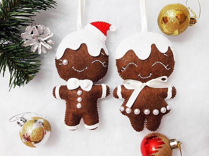felt gingerbread ornaments man ornaments felt christmas ornament new year decor christmas tree decorations