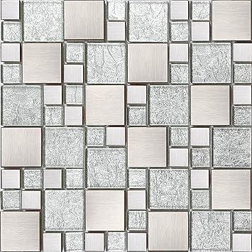 Glas Und Edelstahl Mosaik Fliesen Matte Silber Mit Steinen In Zwei