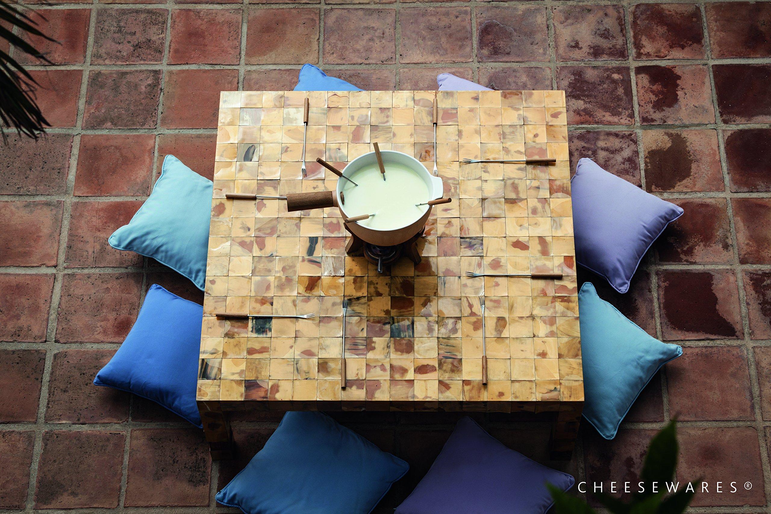 BOSKA Party Fondue Set, 6.5 Liter Stoneware Pot w. Oak Wood Base, 3 Burners, 12 Fondue Forks, Mr Big, Life Collection by Boska Holland