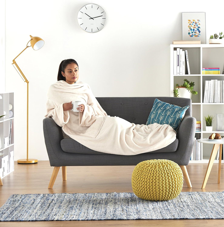 Gris Manta polar con mangas y bolsillo para los pies 150 x 180 cm Basics