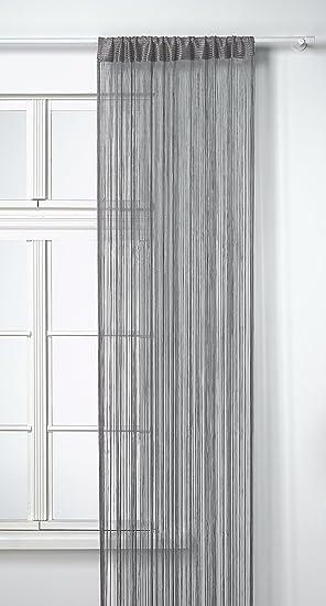HomeMaison HM69807592 Rideau à Fils Spaghetti Gris 90 x 240 cm ...