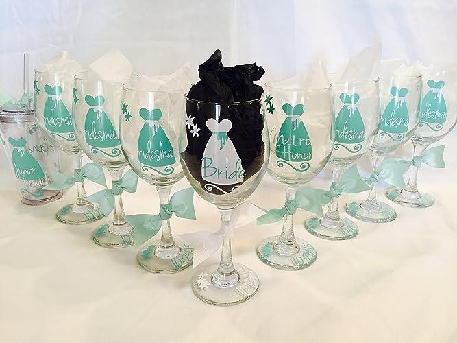 Amazon.com: Bridal Party Wine Glasses, bridal party gift, bridesmaid ...