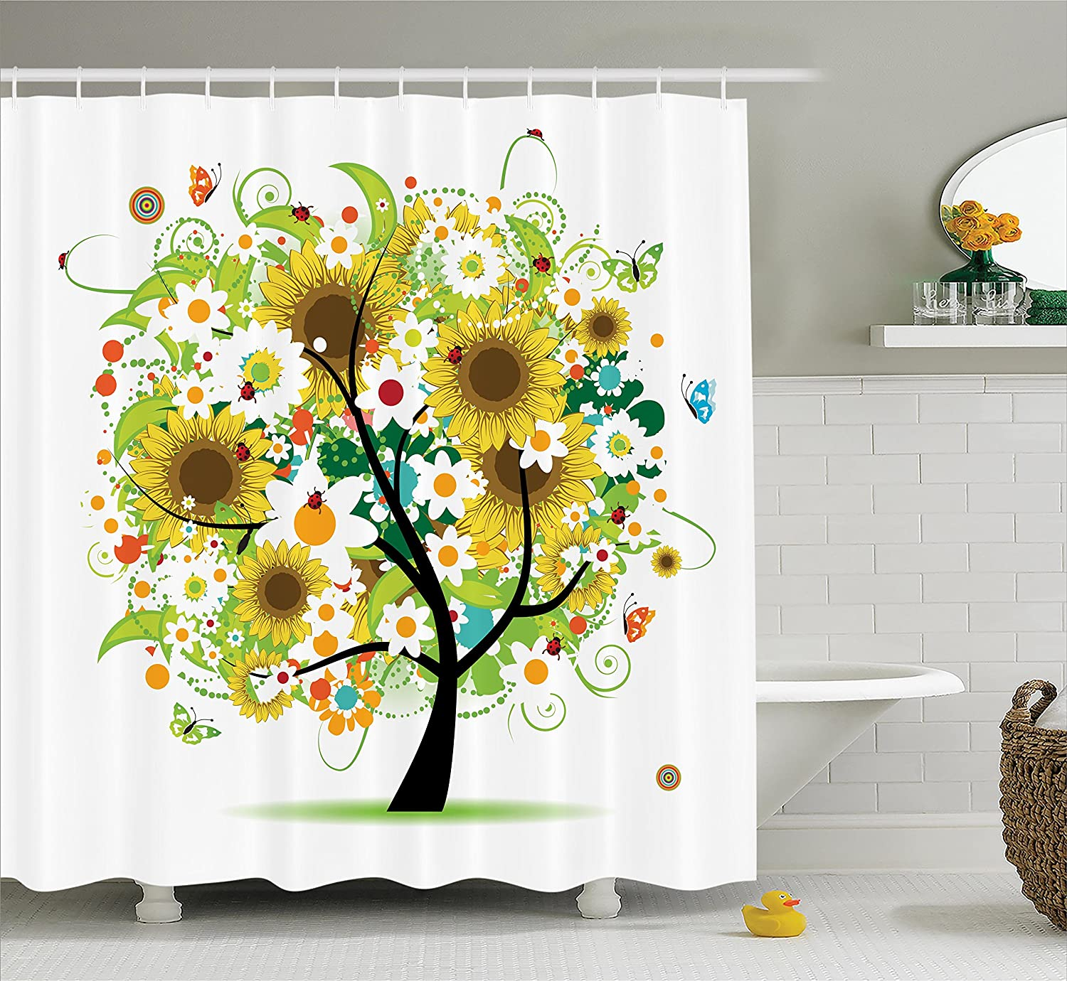 Ambesonne Sunflower Decor Collection, Floral Tree with Daisies Sunflowers Butterflies Ladybugs Insect Swirl Spring Fantasy Image, Polyester Fabric Bathroom Shower Curtain Set with Hooks, Yellow Black