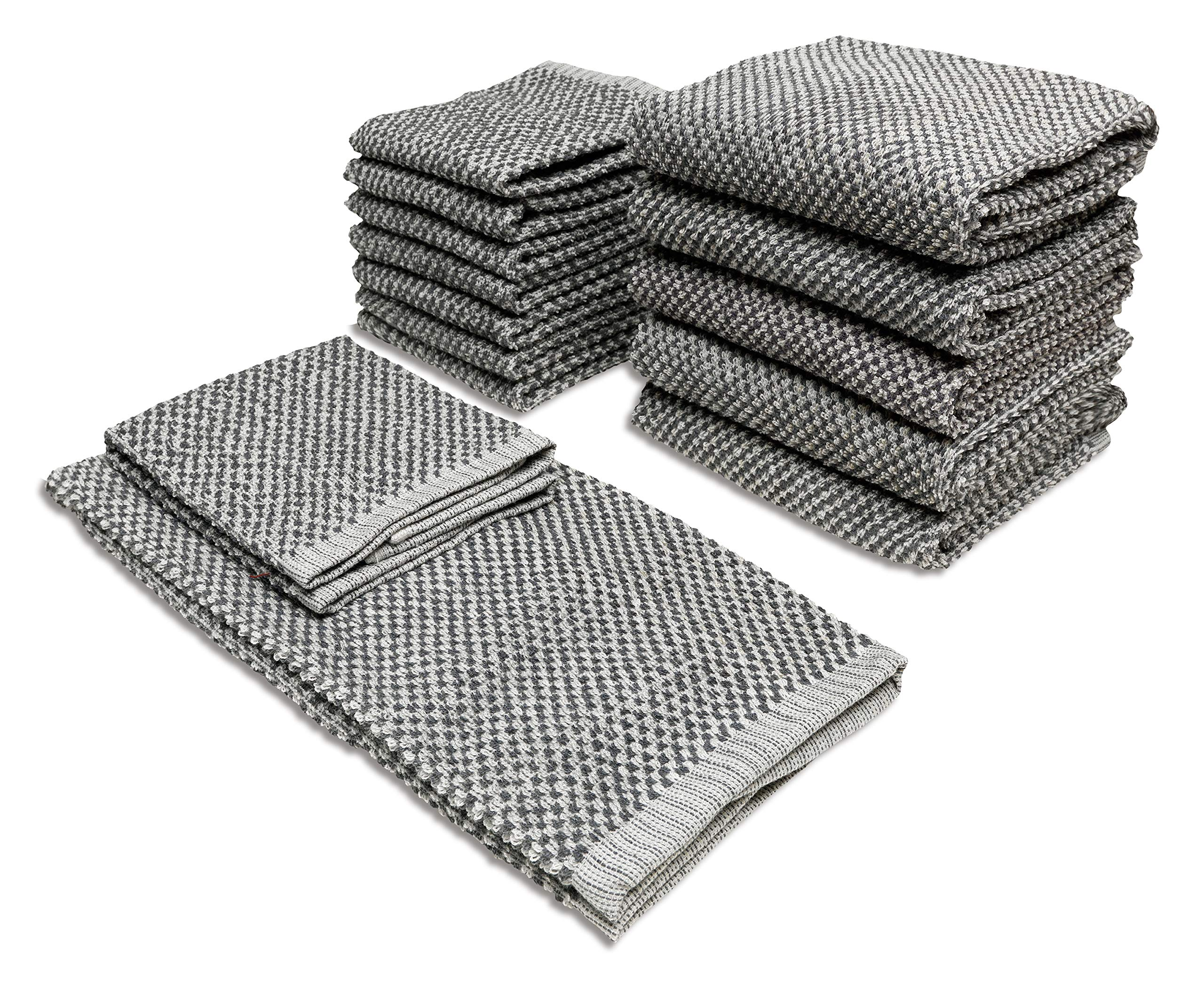Popular Home 934694 Bethany Kitchen Towel, One Size, Steel-Grey
