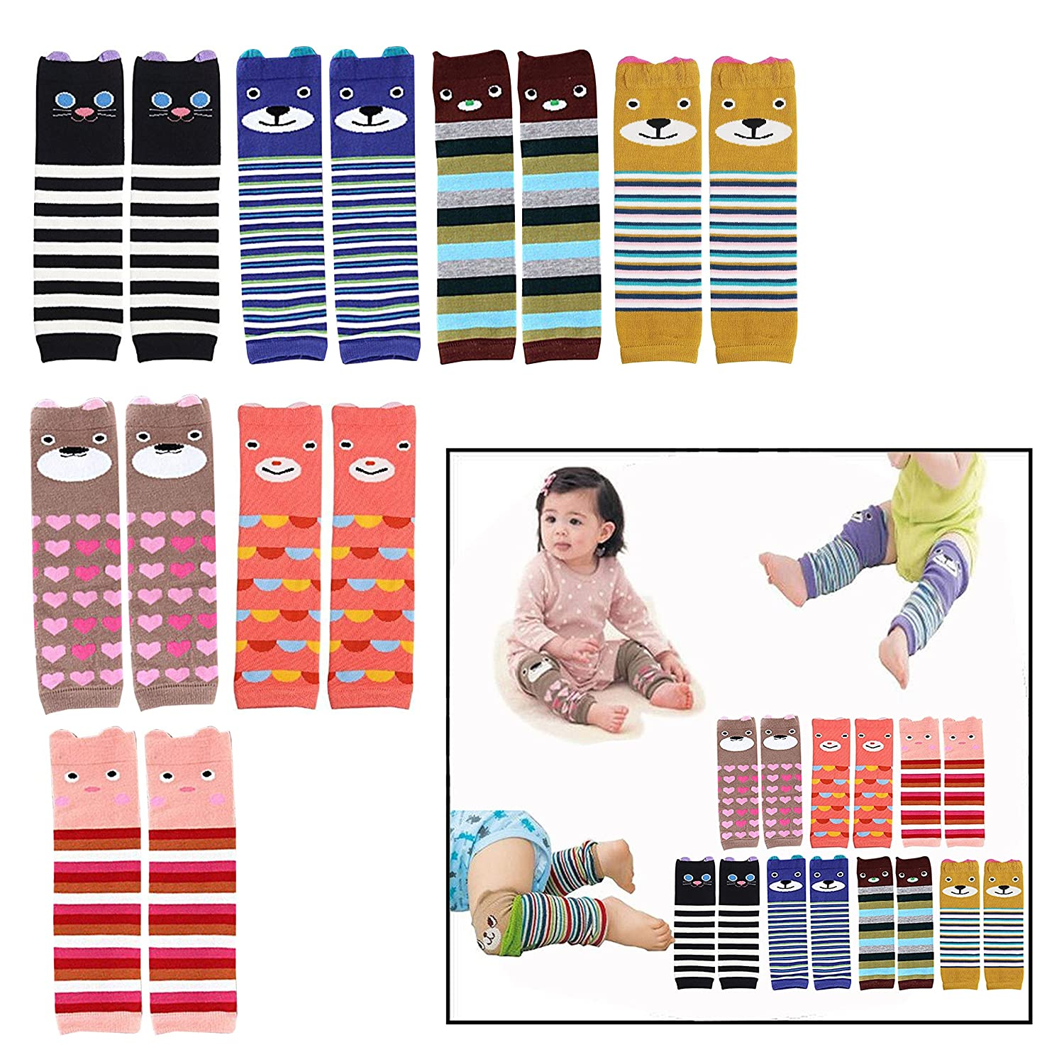 OFKPO 7 Pairs Cute Baby Leg Sleeve Warmers, Cartoon Knee Socks Protector for Infant