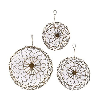 Amazon Com Creative Co Op Round Wire Hanging Baskets Set