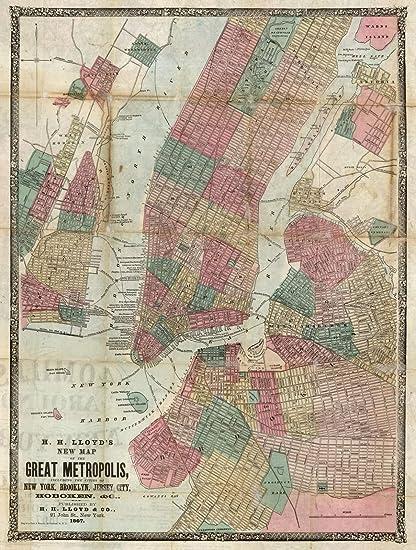 Map Of New York Brooklyn.Amazon Com Historic Map New York Brooklyn Jersey City Hoboken