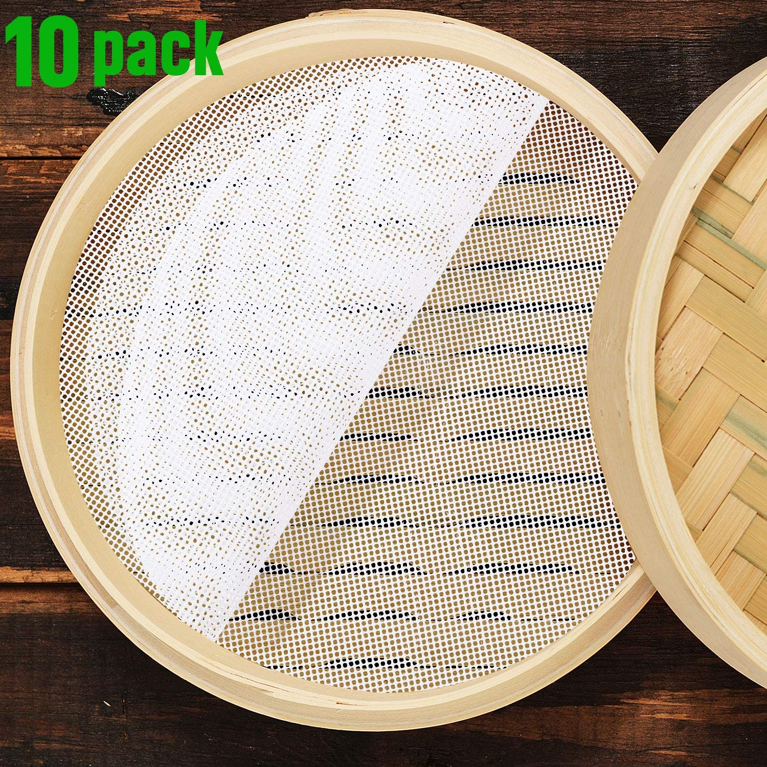 Boao 10 Pieces Silicone Steamer Mesh Mat 10 Inch Round Silicone Steamer Liners Mat Reusable Bun Steamer Pad Non-Stick Dim Sum Mesh for Home Kitchen Restaurant Dumplings Pastry
