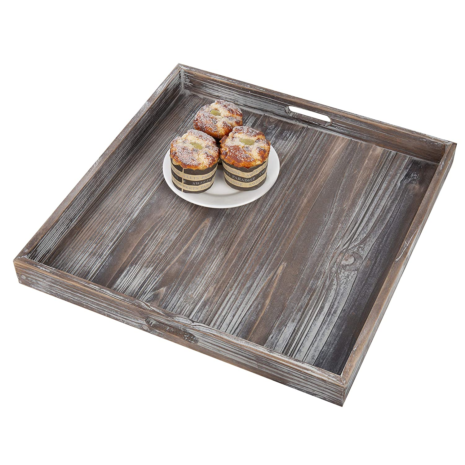 MyGift 19-Inch Square Rustic Torched Wood Ottoman Tray