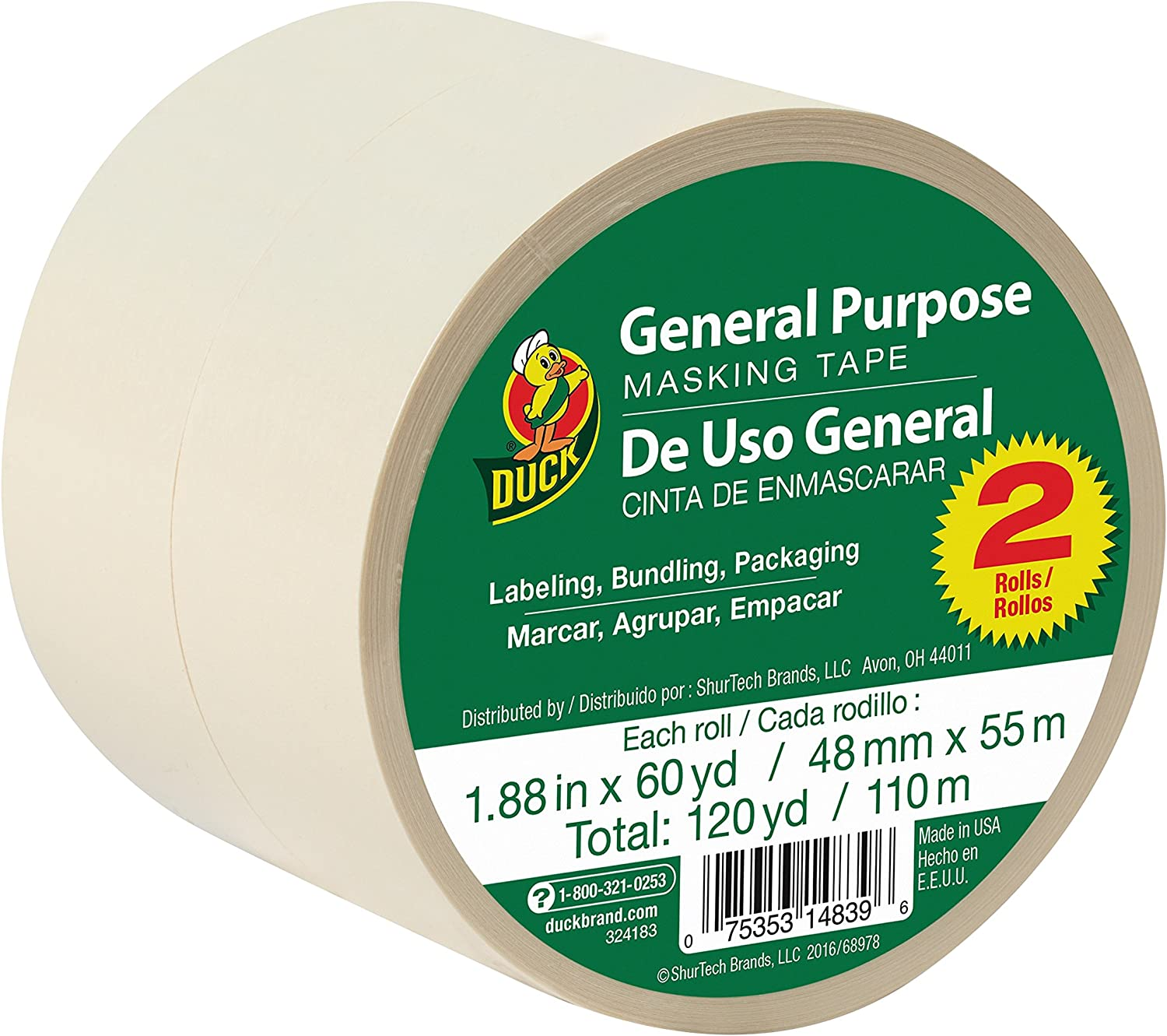 "Duck General Use Masking Tape 1.41 /"" X 60 Yard Pack of 12"