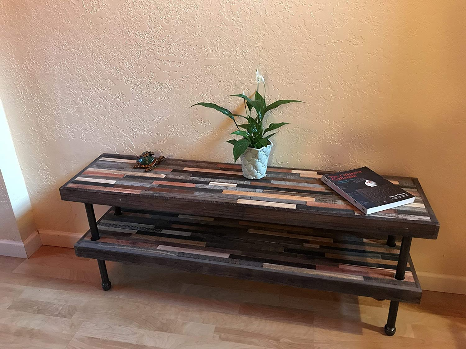 Unique barnwood bookcase - Industrial modern with black pipe