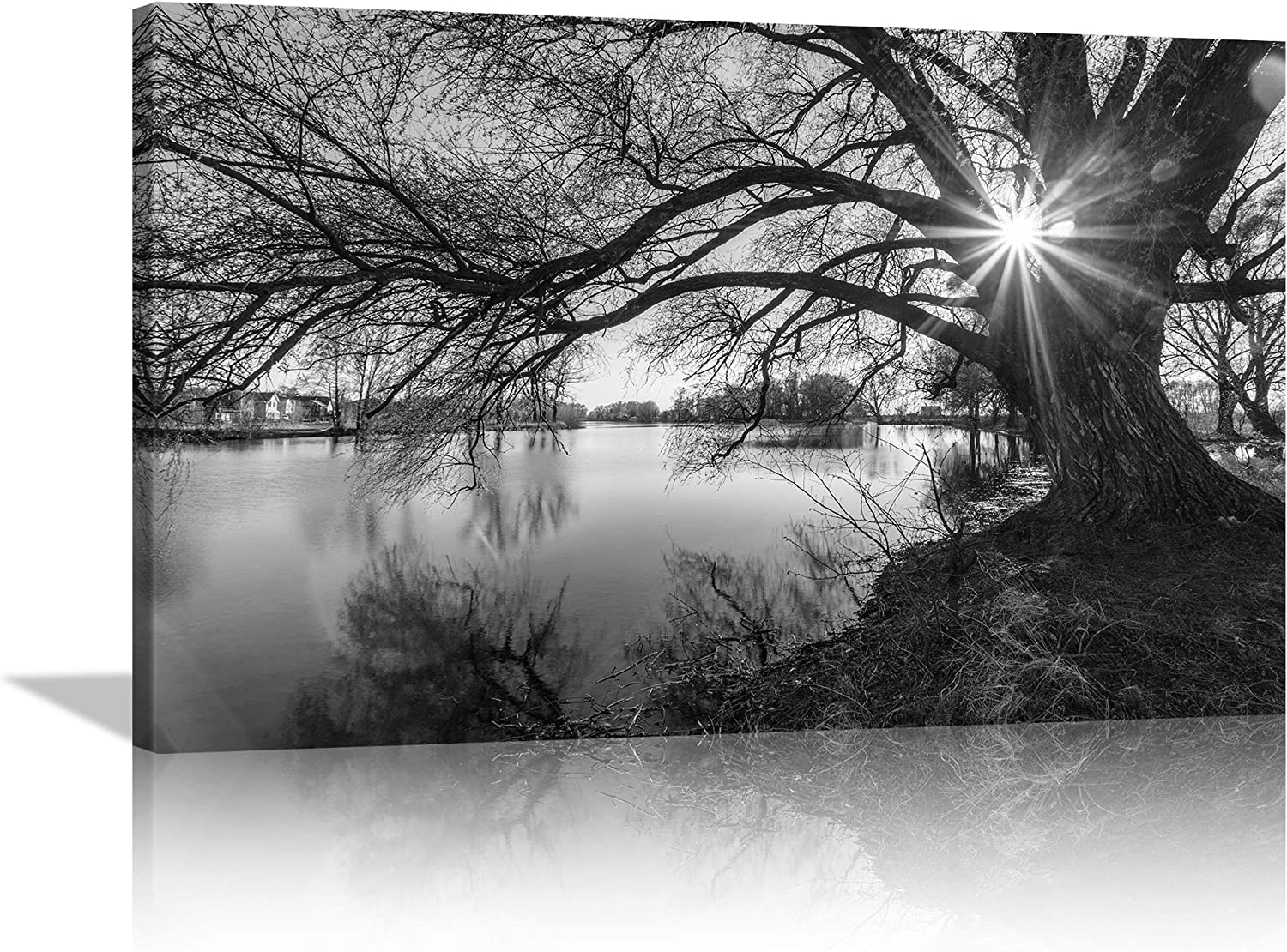 AMEMNY Black and White Tree Wall Decor Silhouette in Sunrise Lake Canves Painting Art Black and White Wall Art Landscape Pictures Print Artwork Decor for Bedroom Livingroom Framed Ready to Hang