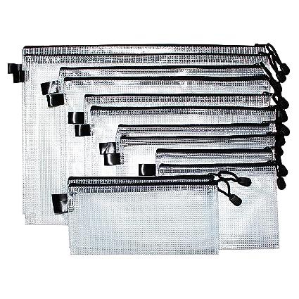 Bolsa de Archivo Malla con cremallera (12 Piezas) - Bolsas para Documentos Múltiples Tamaños Plástico -Bolsa Multipropósito Organizador para ...