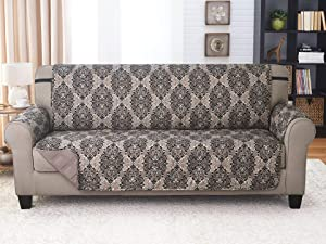 Couch Guard XL Sofa Cover, Slipcover, Furniture Protector. Shield & Protects from Dogs, Cats, Pets, Kids, Stains. Reversible, Quilted with Elastic Strap. Easy Wash & Dry. French Damask & Taupe