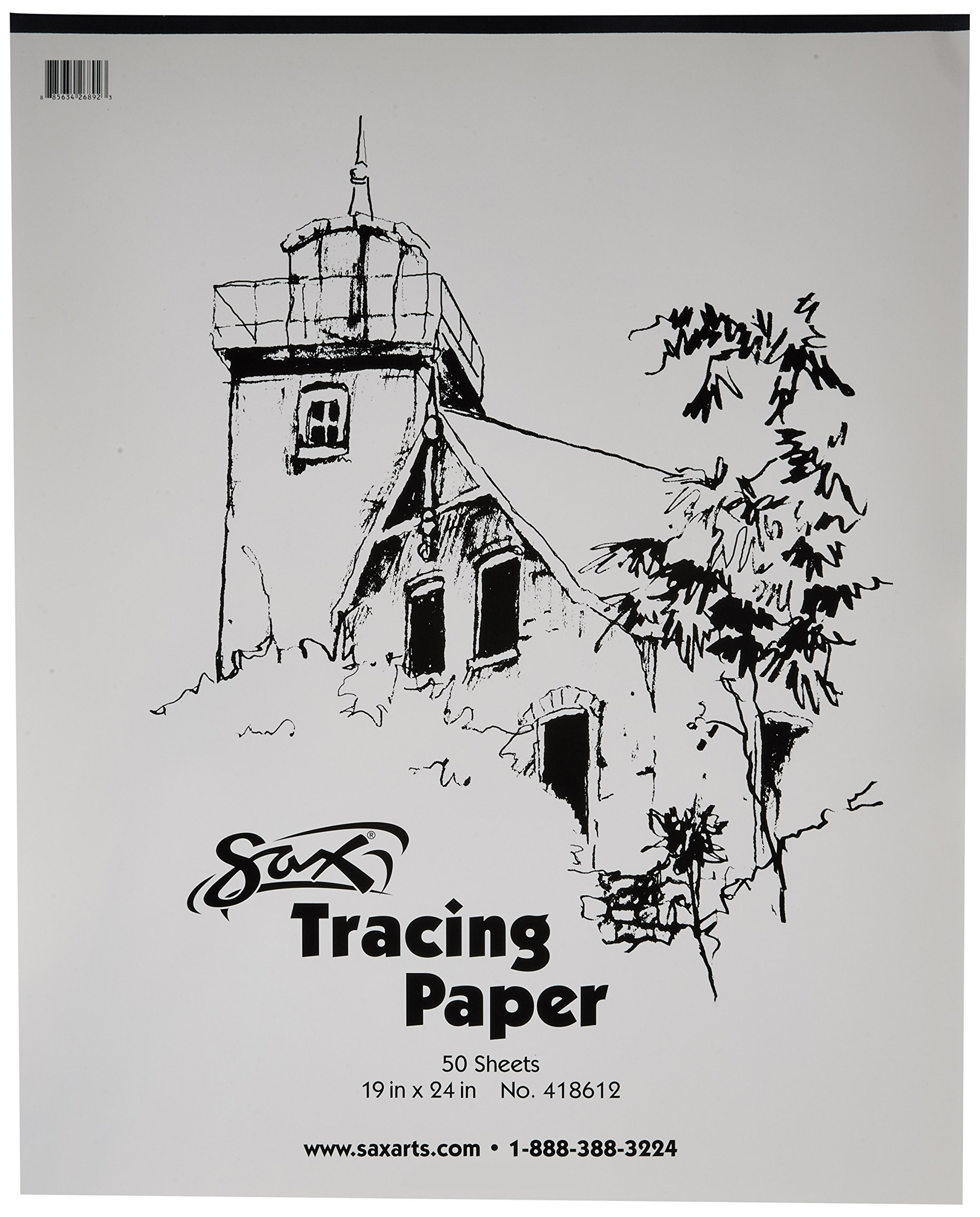 Sax Tracing Paper Pad, 25 lbs, 19 x 24 Inches, White, Pack of 50 by Sax