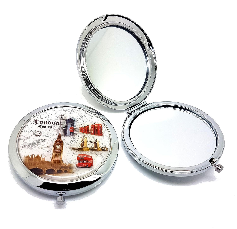 Classic London Souvenir Pocket Mirror Collectible British Souvenir ! Speicher / Memoria! Distressed ! A Memorable London, England Souvenir! Miroir / Spiegel / Specchio / Espejo! Union Jack London Eye Tower Bridge Big Ben London Bus Telephone Post box etc