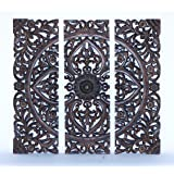 Benzara Modern Wood Wall Panel with Dark Finish, 36-Inch, Set of 3