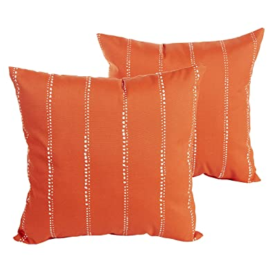 Humble and Haute Perry Orange Dotted Stripes Indoor/Outdoor 22 inch Square Pillow Set : Garden & Outdoor