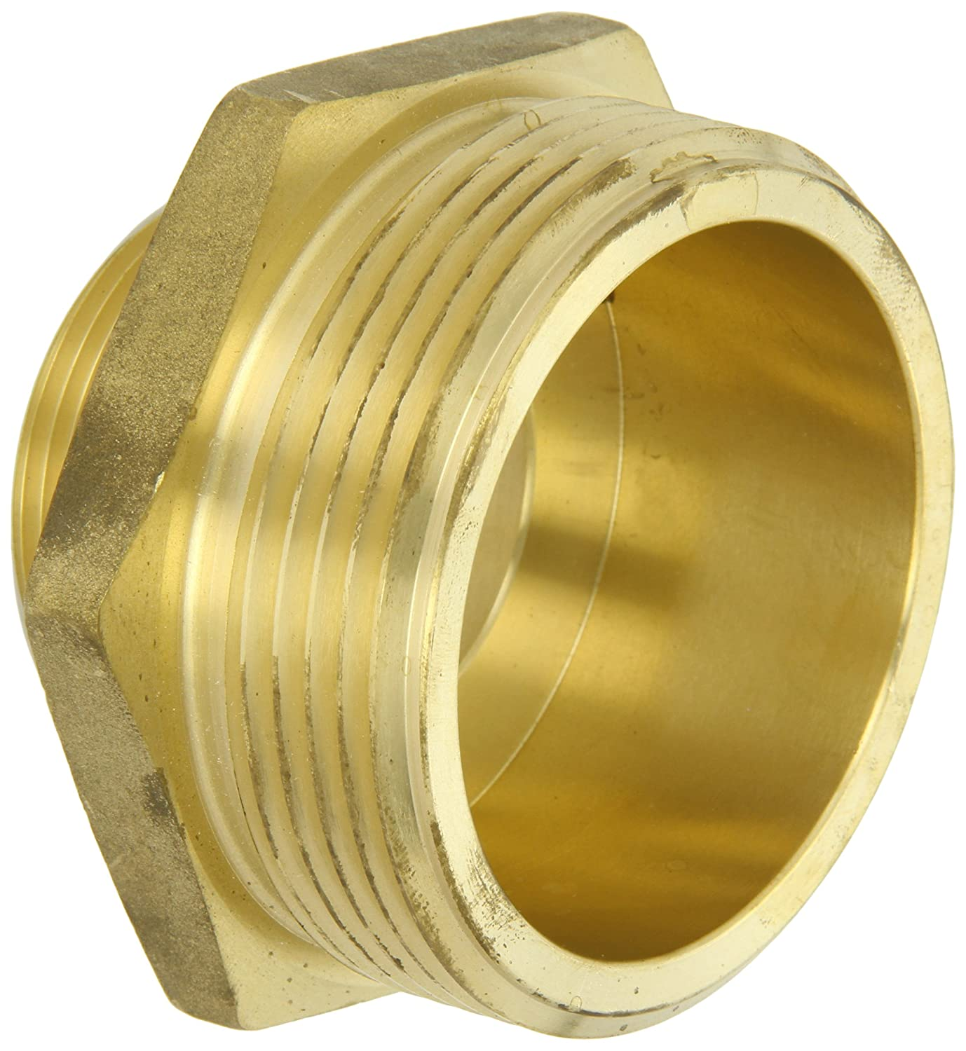 1-1//2 NPT Male x 2-1//2 NH Male Nipple Moon 358-1562521 Brass Fire Hose Adapter
