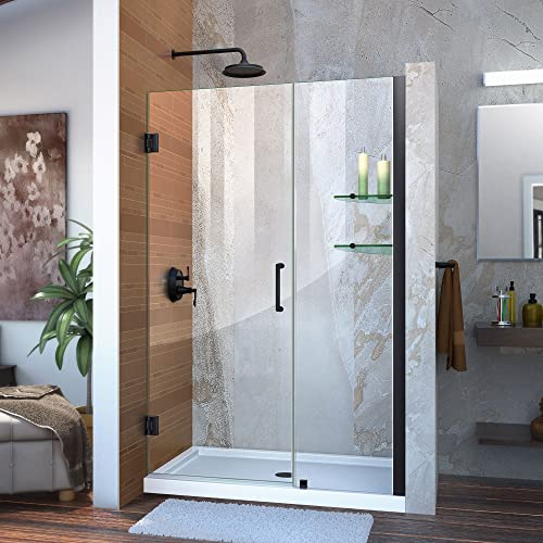 DreamLine Unidoor Min 46 in. to Max 47 in. Frameless Hinged Shower, Clear 3 8 in. Glass Door, Satin Black Finish, SHDR-20467210S-09, 46-47 W x 72 H
