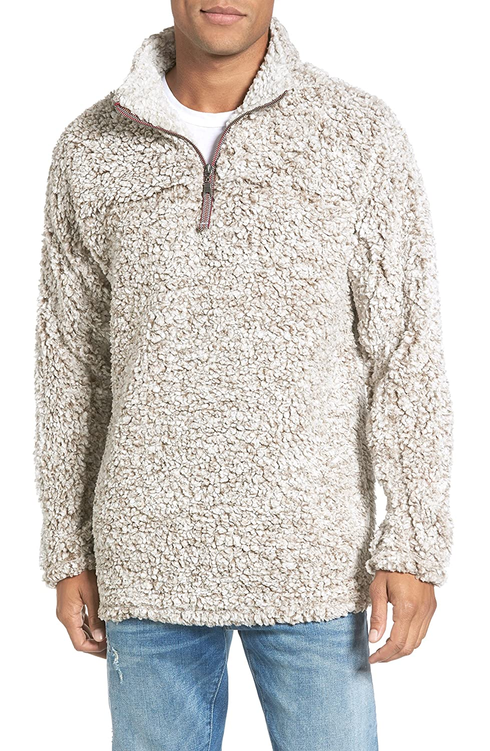 Amapot Apparel Mens 1/4 Zip Fleece Pullover Frosty Pile Tipped Sweater Stadium Fleece Sherpa Pullover Hoodie