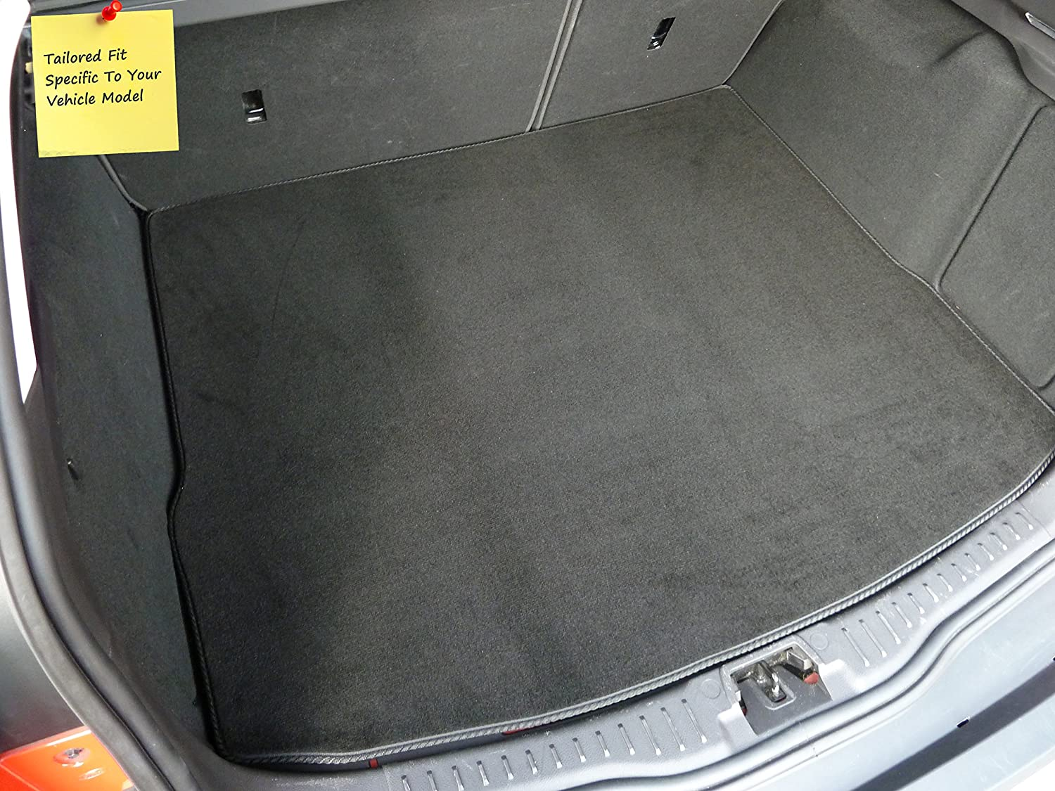 Connected Essentials Tailored Custom Fit Luxury Automotive Velour Carpet Boot Mat Boot Liner Black with Black Trim
