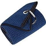 Mile High Life Tri-fold Golf Towel | Premium Microfiber Fabric | Waffle Pattern | Heavy Duty Carabiner Clip | 14 Color Option