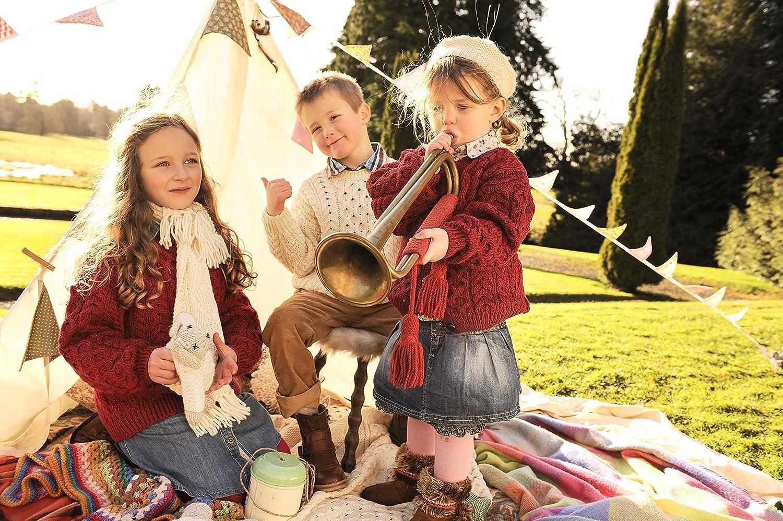 Childs Irish Aran Wool Lumber Cardigan Sweater