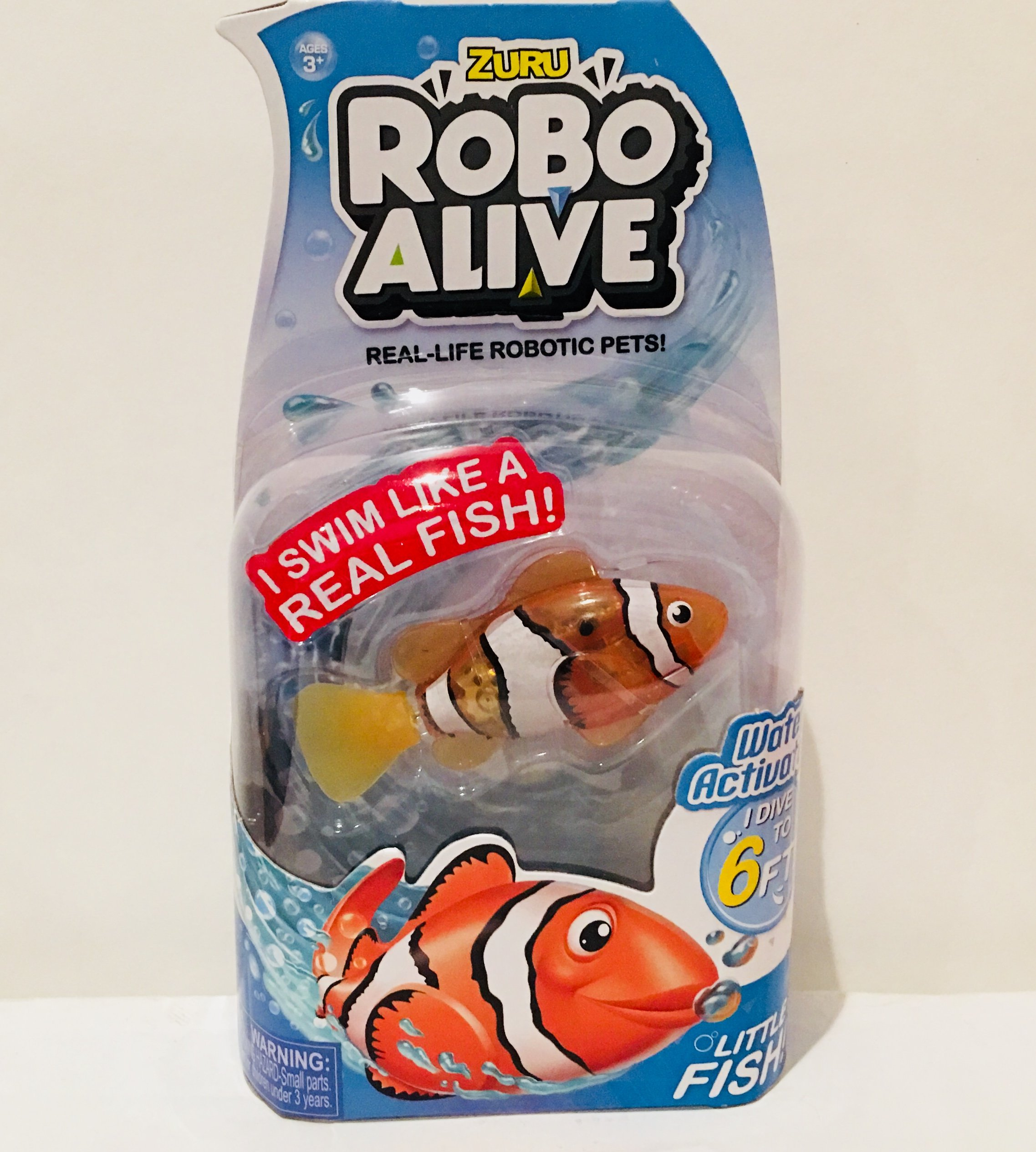 New Zuru Robo Alive Little Fish Collection Real-Life Robotic Pets - Water Activated LITTLE CLOWNFISH - Swims like a Real Fish an