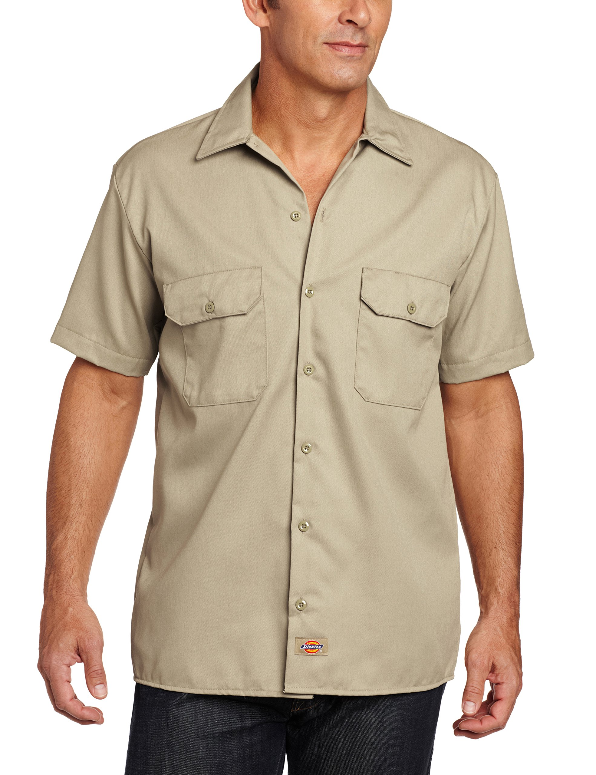 Dickies Men's Short Sleeve Workshirt in Khaki - XXX-Large by Dickies