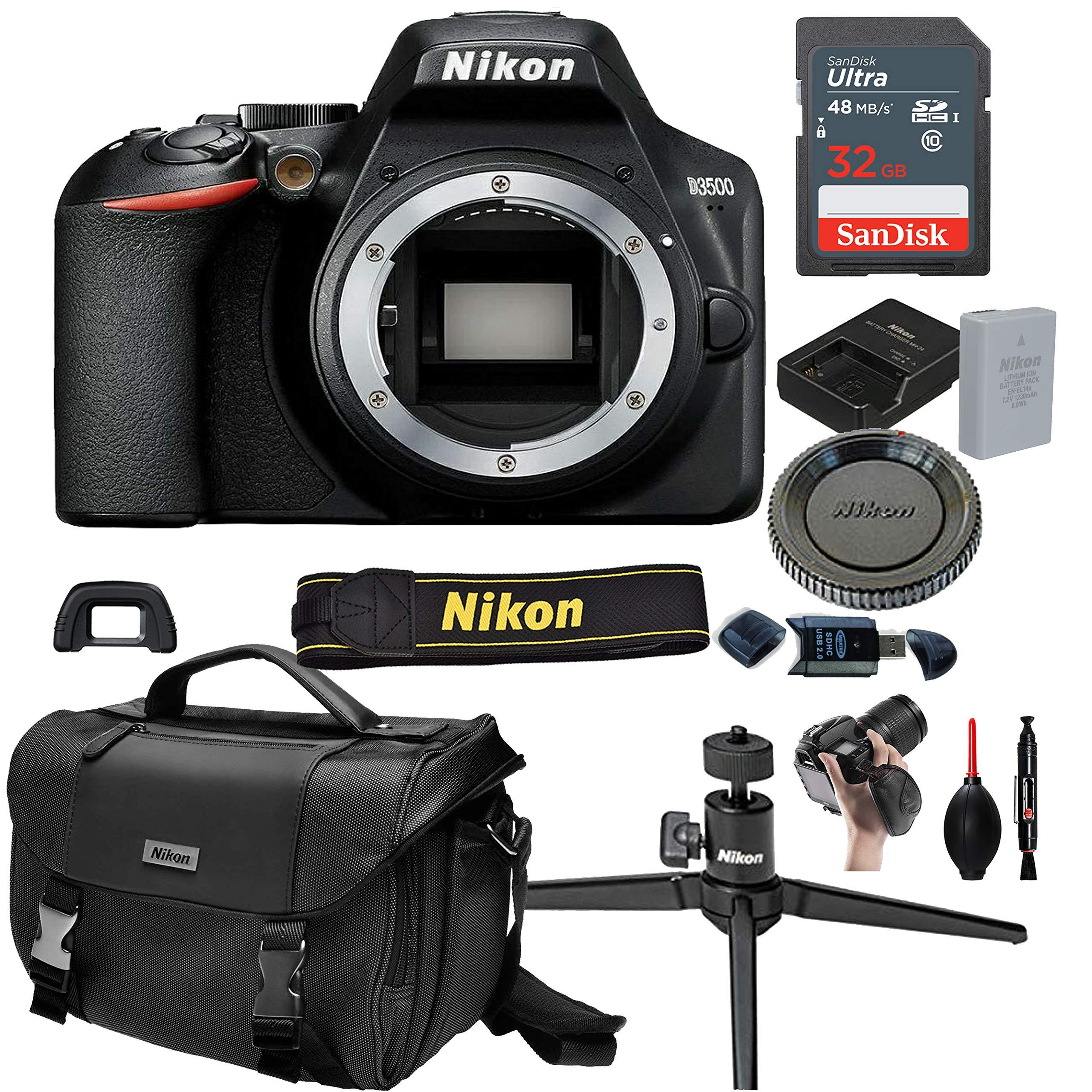Nikon D3500 DSLR Camera Body (No Lens)+ 32GB Card, Tripod,Case and More (13pc Bundle)