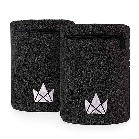 Muñequera Sweatband, 2-pack, con Bolsillo (Negro - L)