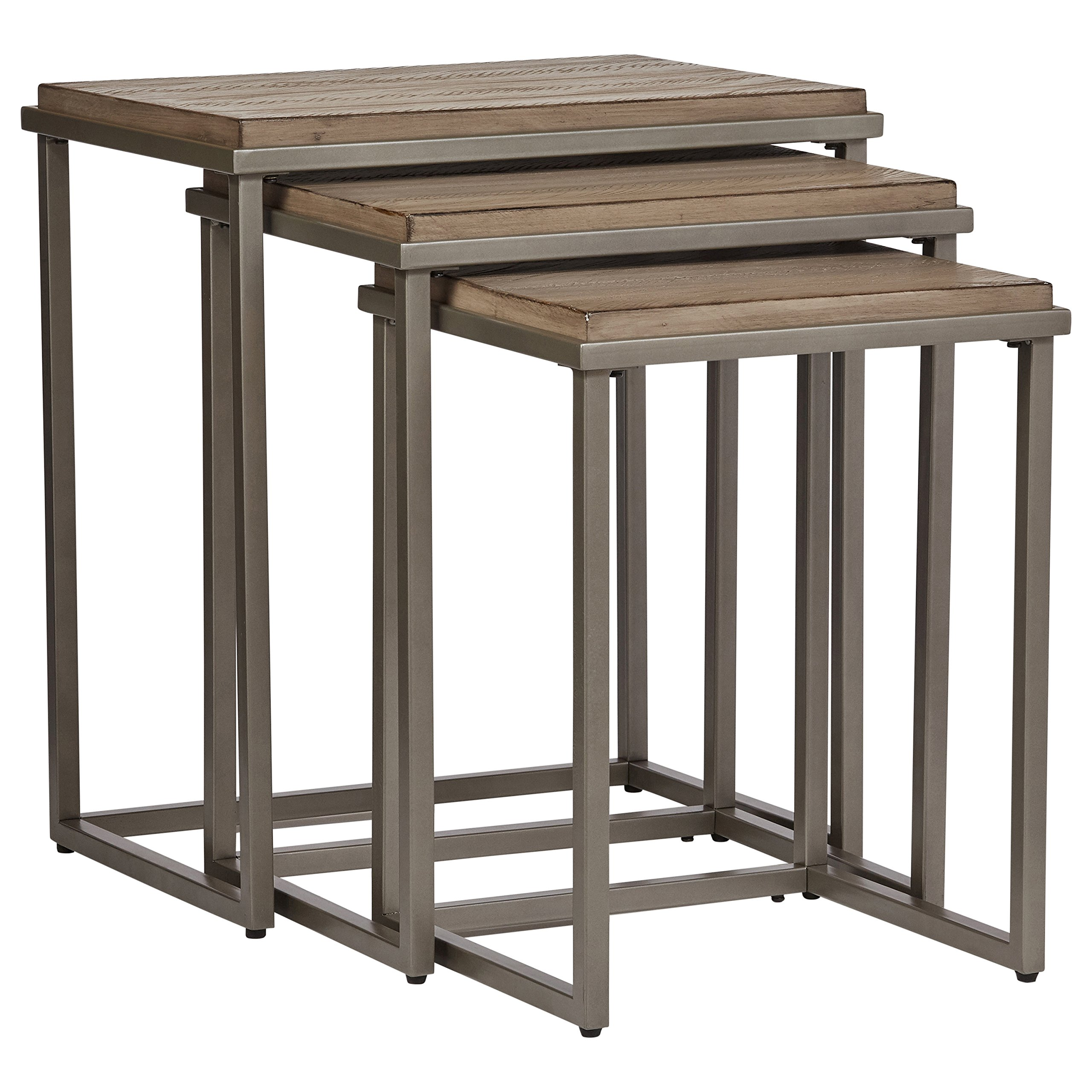 Stone & Beam Gazelle Rustic Metal Nesting Side End Tables, 22''W, Set of 3, Weathered Taupe Gray by Stone & Beam