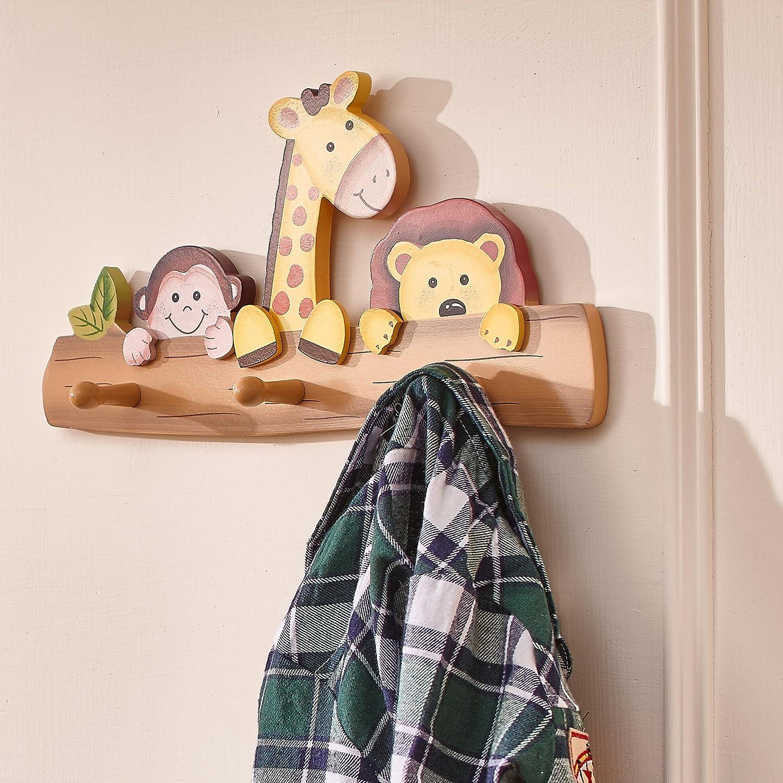 Porte-manteau murale bois 3 pat/ères crochets chambre enfant b/éb/é fille TD-11636A