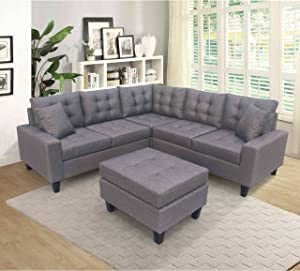 Cotoala Sectional Chaise Lounge and Ottoman, Modern L-Shape Couch for Living Room Large Sofa Furniture Set with 6 Pillows, Charcoal Gray