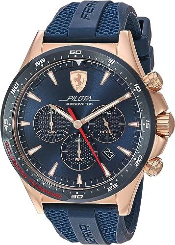 Amazon Com Ferrari Men S Rose Gold Quartz Watch With Silicone Strap Blue 21 Model 0830621 Watches