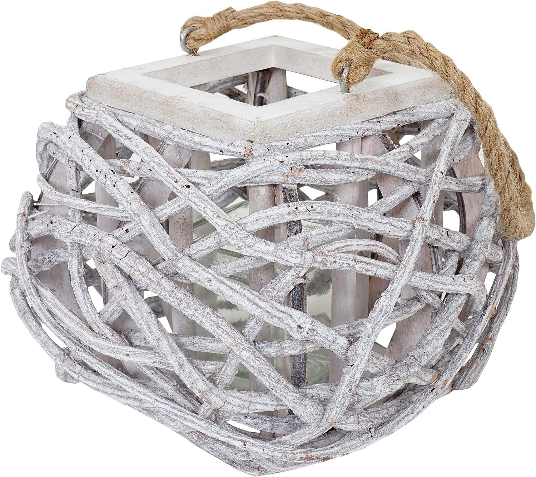 Windlicht 40cm wei/ß-grau H/ängelaterne Kerzenhalter mit Glaseinsatz 8cm