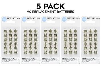 a439231f3 Kit con 90 pilas alcalinas LR44 AG13 357 de botón, súper fuertes y de alta  calidad. Se pueden usar en varios objetos como relojes, luces de botella,  ...