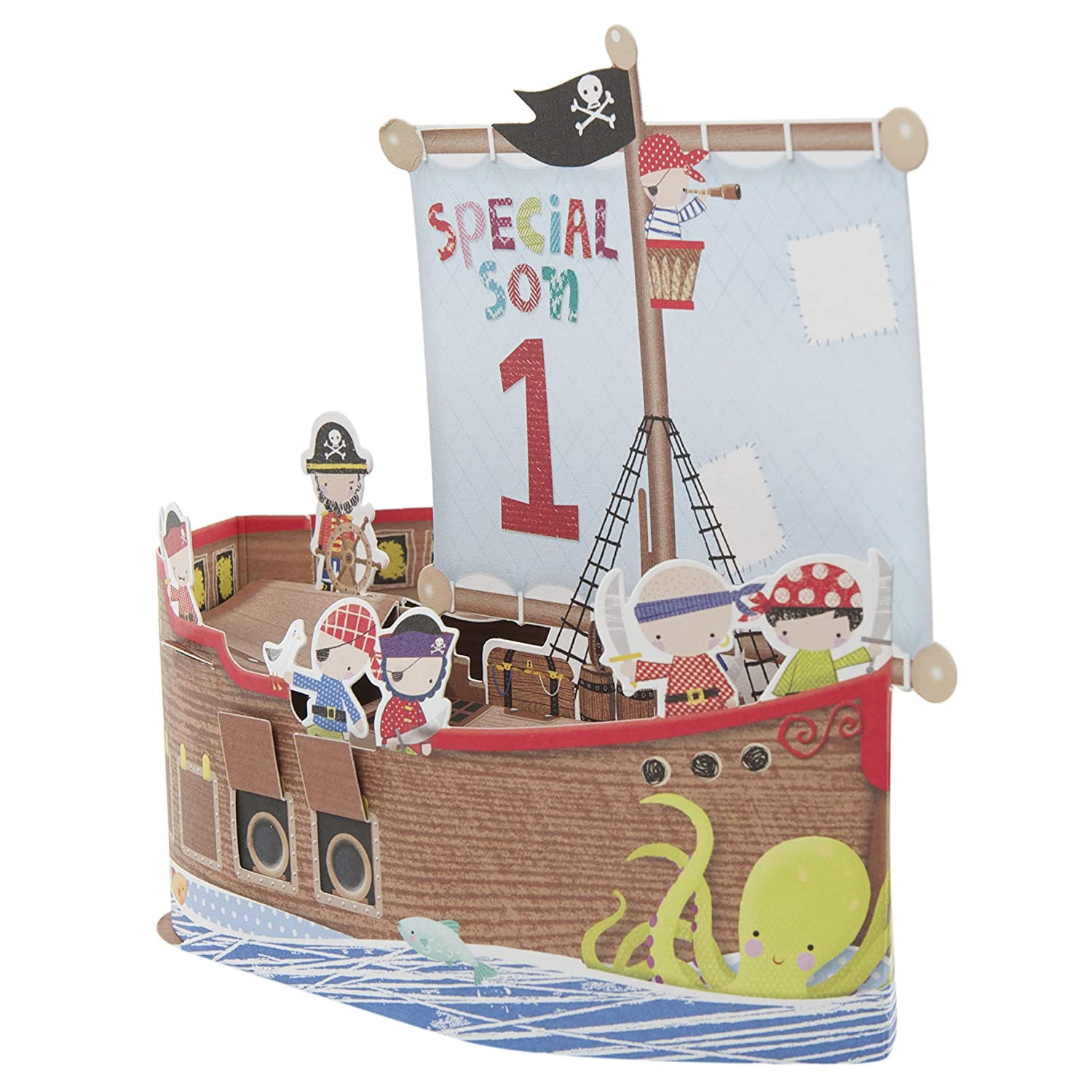 Hallmark 1st Birthday Card For Son Pop Up Ship Medium Square