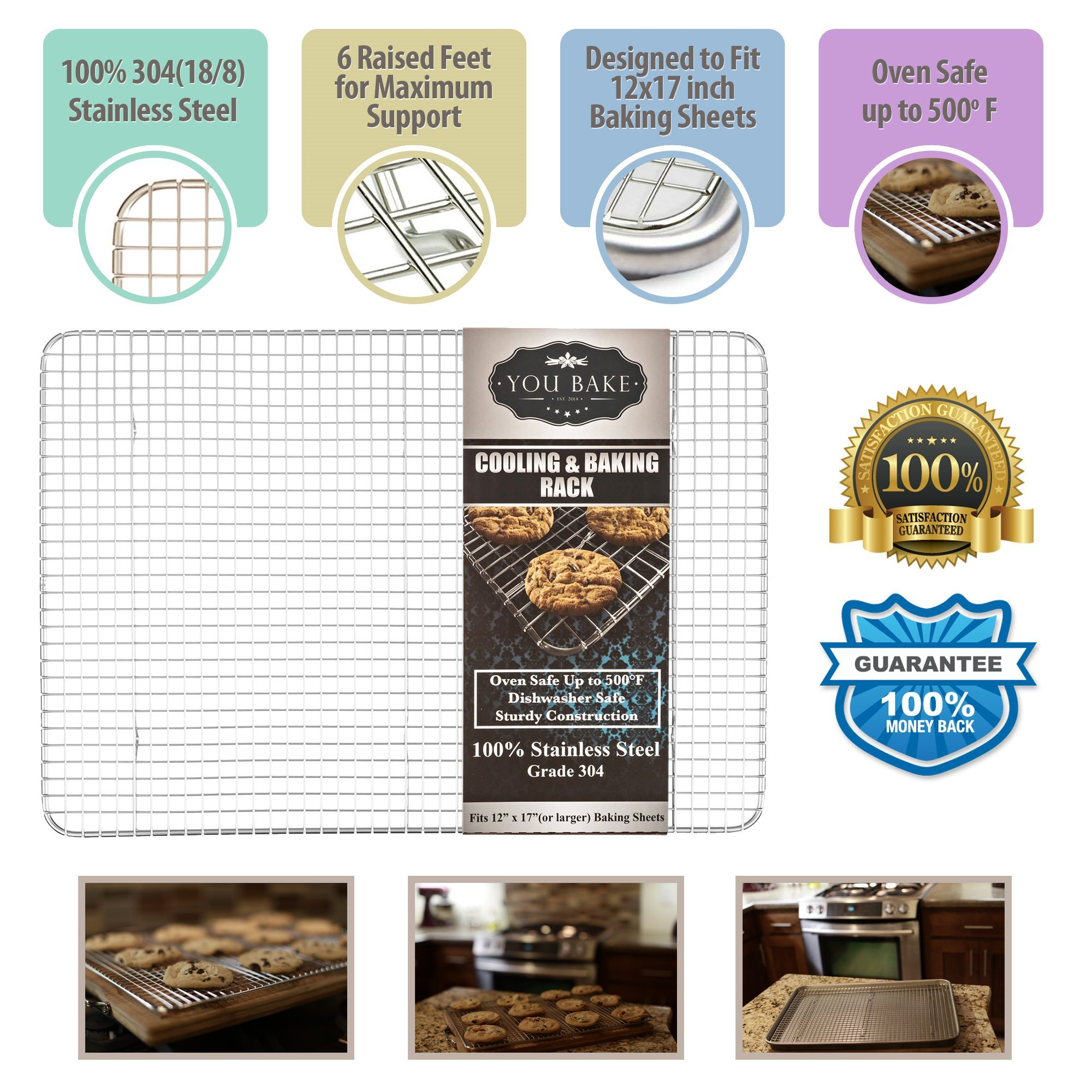 You Bake Stainless Steel Cooling Rack - Made for 12''x 17'' Baking Sheets and Pans - Oven and Dishwasher Safe. Also Great for Baking, Smoking, Grilling, and Roasting. by You Bake (Image #3)
