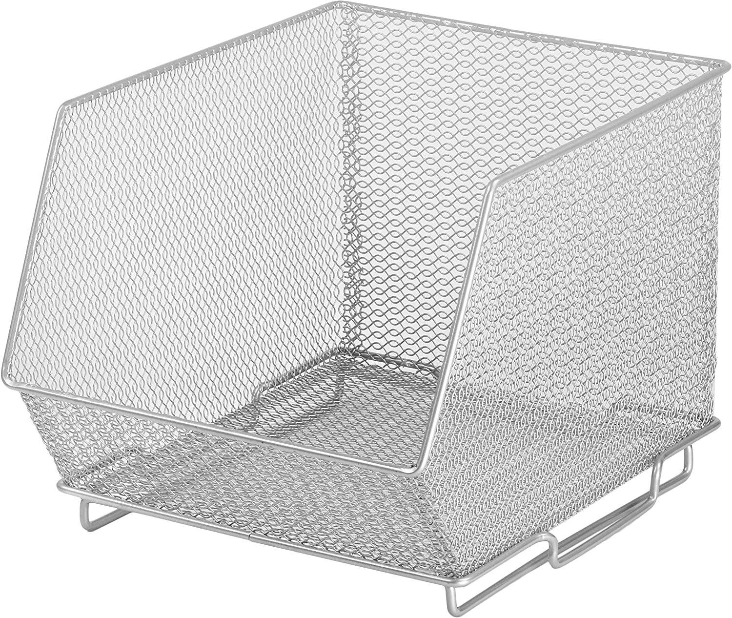 YBM HOME Ybmhome Mesh Stacking Bin Silver (Sold AS 1 BIN) Storage Containers Pantry Organizers Great for Food, Crafts, Cleaning or Pantry Items 1130s (1, Medium 10x8.5x8 Inch)