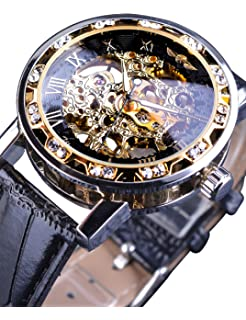 96e0196b9d5 Winner Fashion Diamond Display Men Skeleton Watch Mechanical Classic Retro  Roman Number