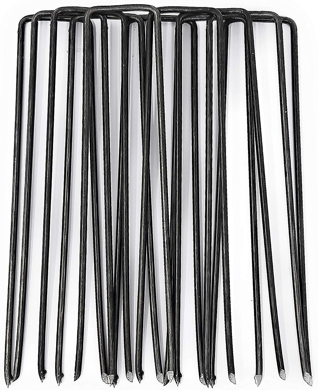 GardenPrime 100 Grapas Metálicas Alambre de Acero 150mm para Sujetar Tela antihierbas, Mallas, Lana, aislantes, Telas de jardinería y láminas de Polietileno (100 Clavijas, 150 mm de Longitud, Acero)