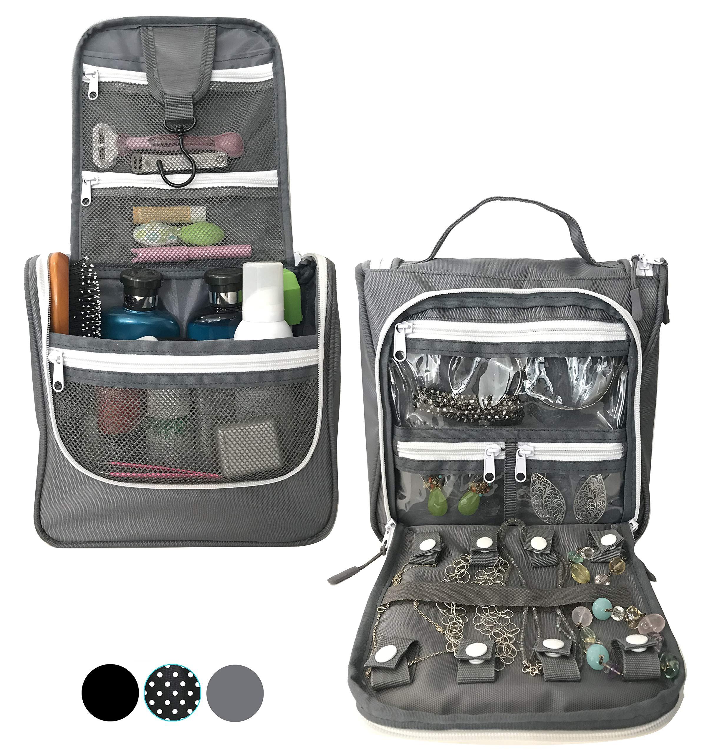 WAYFARER SUPPLY Hanging Toiletry Bag: Pack-it-flat Travel Kit, w Jewelry Organizer, Grey