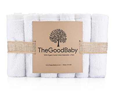 Image: 100% Organic Turkish Cotton Baby Washcloths by The Good Baby | extra soft baby wipes | 450+ GSM of soft, natural cotton | perfect material for sensitive newborn skin | gentle solution for eczema, baby acne, cradle cap