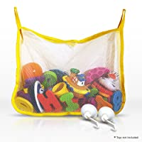 Bath Toy Organiser – Large Yellow Bath Toy Net with 2 Flip Down Suction Cups For Smooth Surfaces - Bath Toy Storage