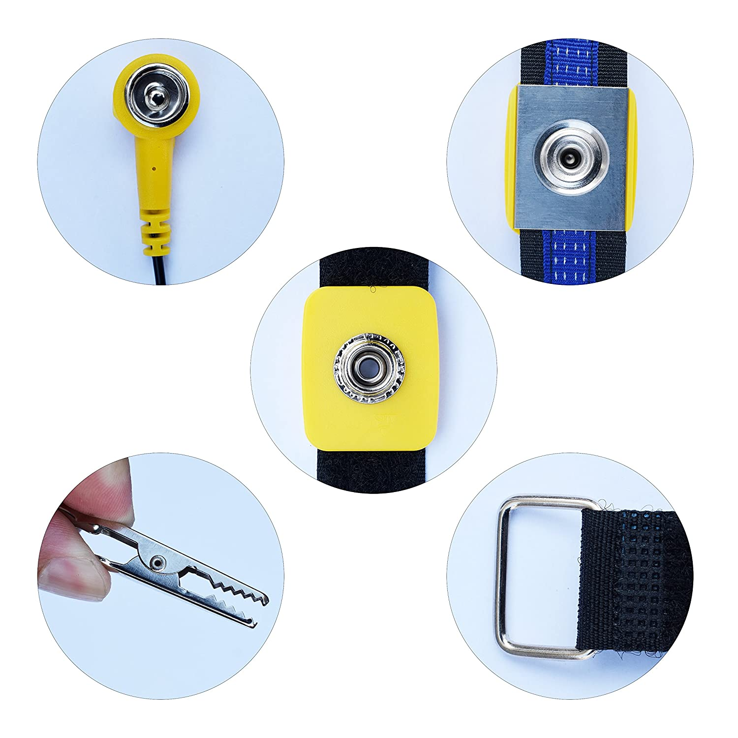4 Packs Reusable ESD Anti-Static Wrist Straps with Alligator Clip for Grounding Yourself When Working with Sensitive Electronic Device homEdge Anti-Static Wrist Straps Blue and Black Yellow