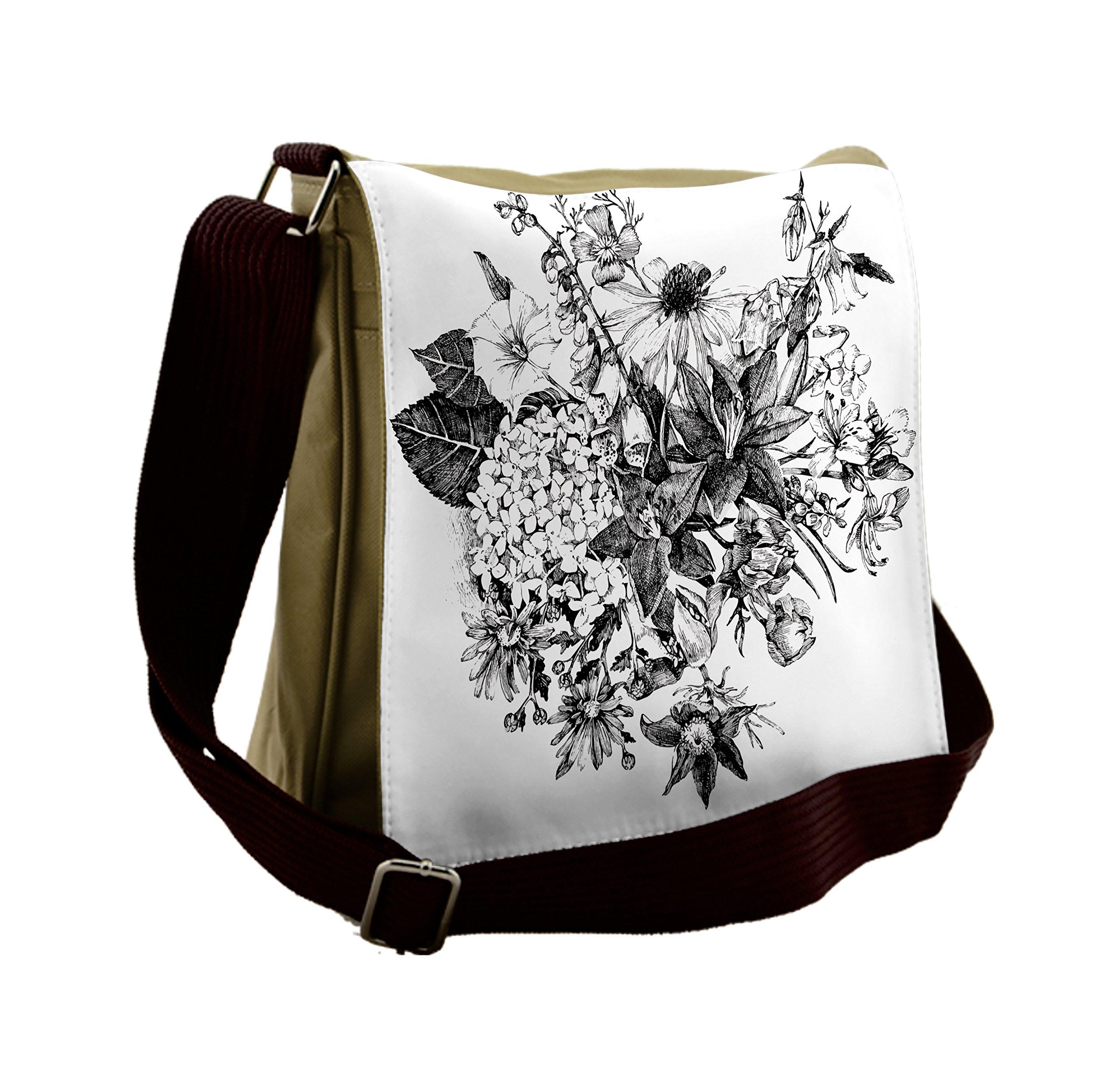 Lunarable Black and White Messenger Bag, Botanic Wedding, Unisex Cross-body