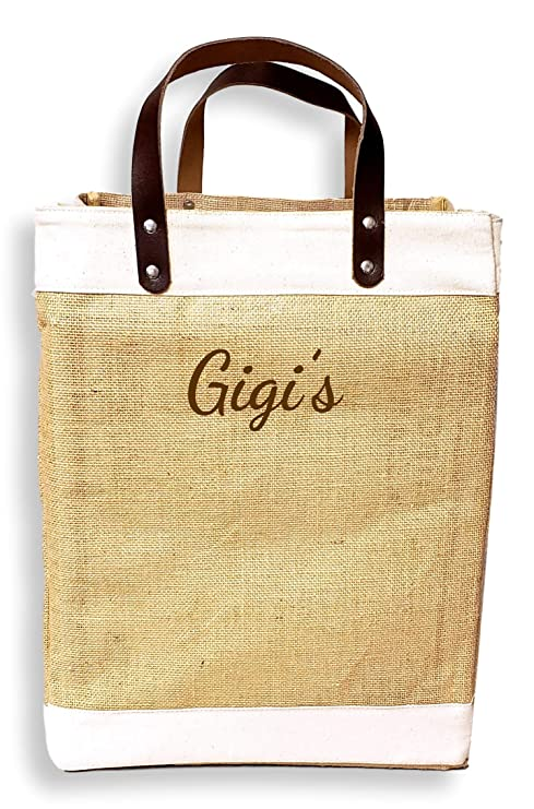 8e2bb39d1 Amazon.com: Eco-Friendly Large Jute and Cotton Leather Handle Market Tote  Bag (Custom Embroidered Name - Natural): Kitchen & Dining